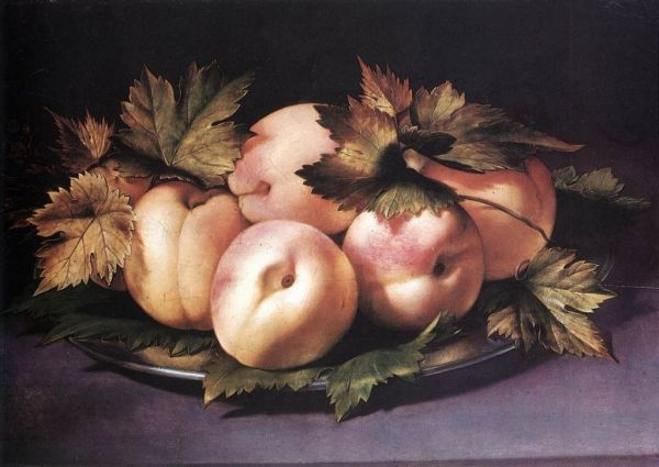 giovanni_ambrogio_figino-metal-plate-with-peaches-and-vine-leaves-1591-94