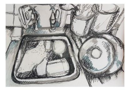 charcoal sink sketch