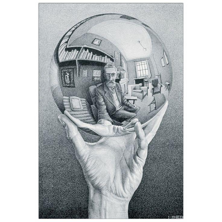 Escher 'hand holding reflective space' 1935