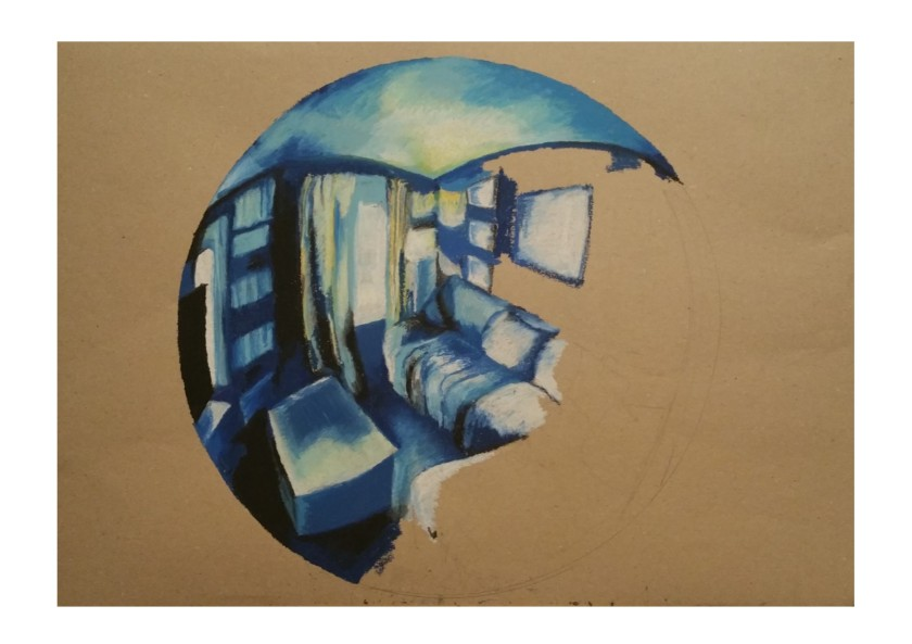 fish eye lens final piece #1 oil pastel