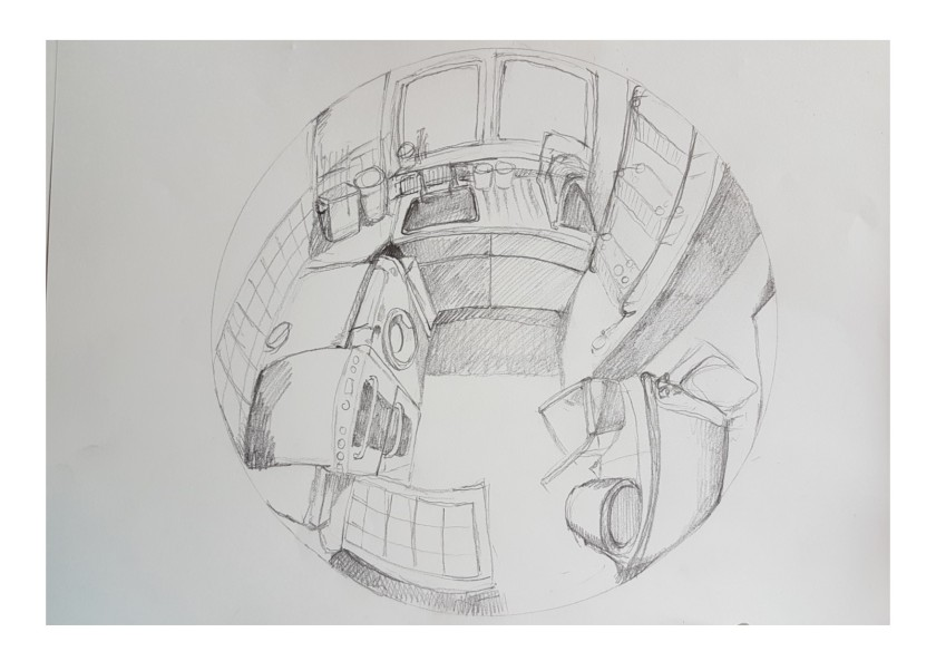 fish eye lens kitchen sketch