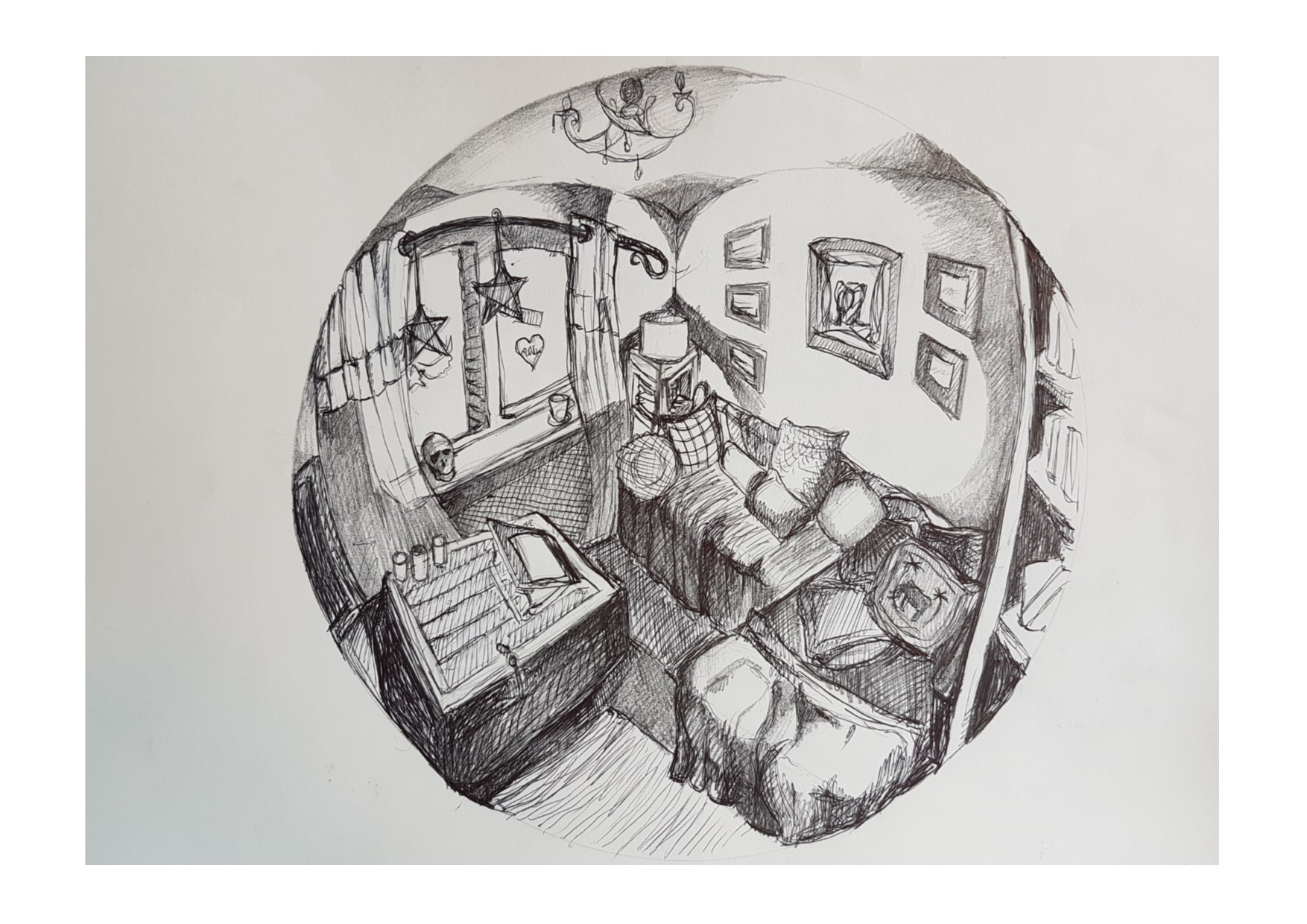 fish eye lens living room sketch