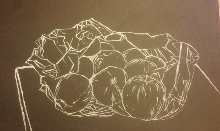 line drawing apples in carrier bag