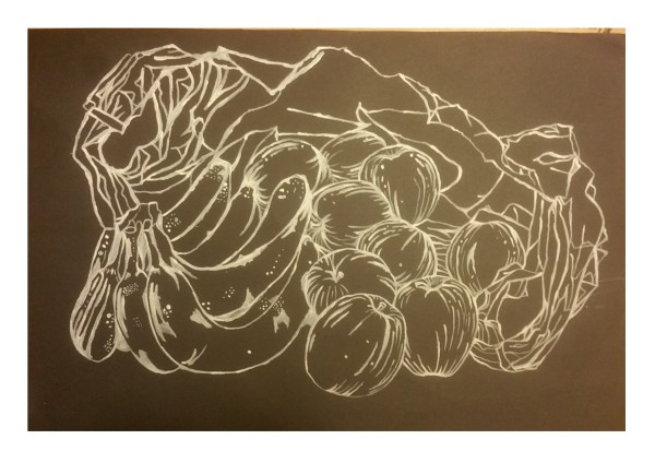 line drawing fruit in carrier bag