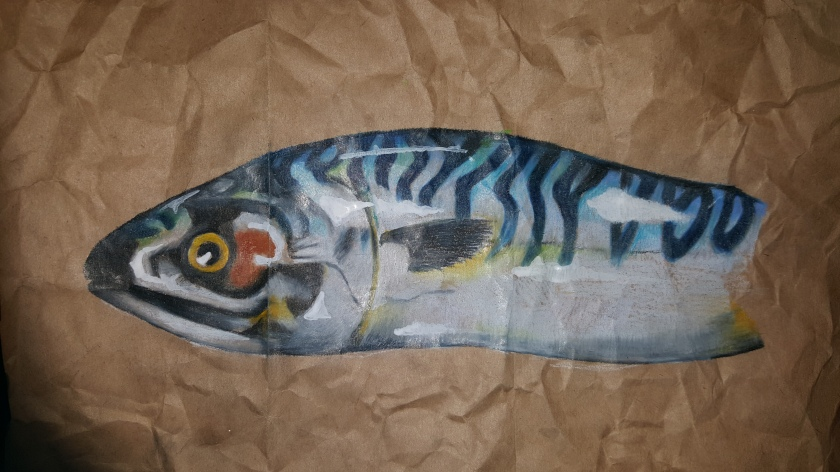 mackerel study on brown paper