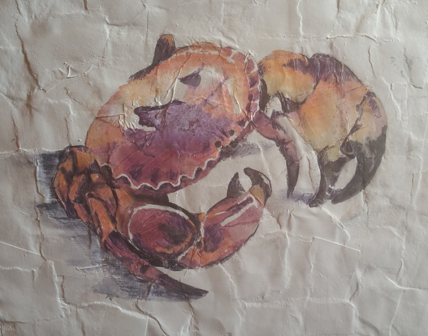 mixed media crab