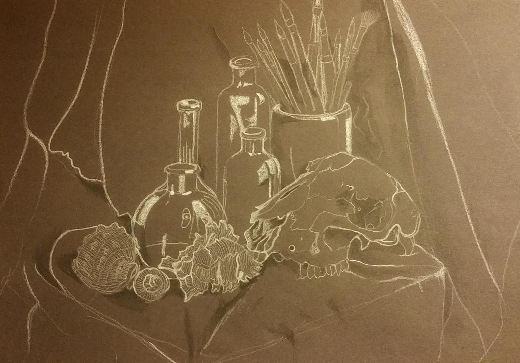 monochrome skull still life, black and white pencil on black paper