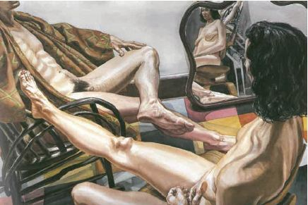 Philip Pearlstein 'Male model with kimono, female model with mirror' 1985