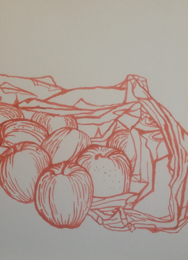 red felt tip on white paper line drawing fruit and bag