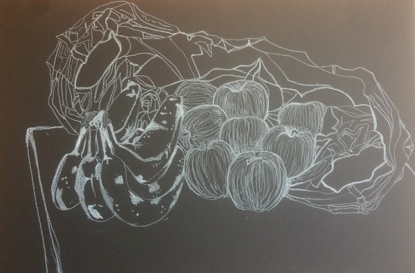 white pencil on black paper line drawing fruit and bag